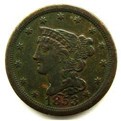 1853 HALF CENT FINE