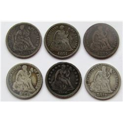 6-SEATED DIMES:  1872, 1885, 1873, 1875-S,