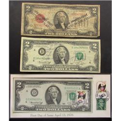 3- $2 NOTES; 1976 with STAMPS;