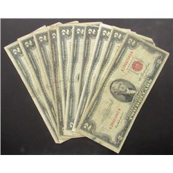 10 $2 RED SEAL U.S. NOTES