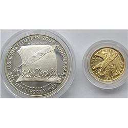 1987 TWO COIN GOLD & SILVER CONSTITUTION