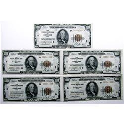5 CONSECUTIVE SER # $100 NATIONAL CURRENCY