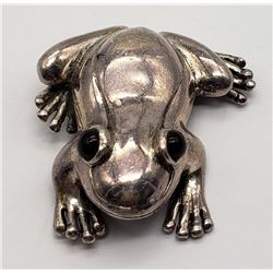 STERLING FROG BROOCH WITH BLACK ONYX EYES