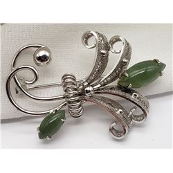 SORRENT STERLING BROOCH WITH (2)JADE STONES