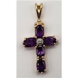 GORGEOUS STERLING CROSS PENDANT WITH PURPLE