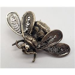 BEAU ANTIQUE STERLING BEE BROOCH