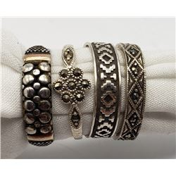 4-STERLING RINGS: (1)MARCASITE (3)OTHER DESIGNS.