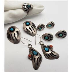 4-NAVAJO STERLING PAIRS OF EARRINGS & (1)RING