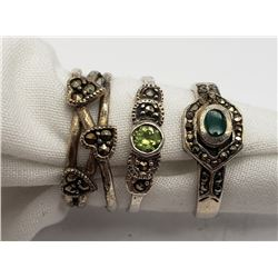 3-MARCASITE RINGS WITH GREEN STONE ACCENTS