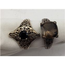 2-ANTIQUE STERLING RINGS WITH LARGE CNTR STONE