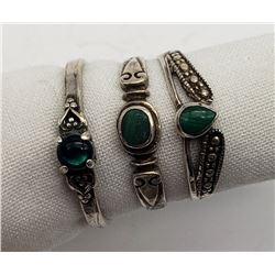 3-ANTIQUE STERLING RINGS WITH GREEN CNTR