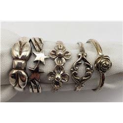 5-ANTIQUE STERLING RINGS WITH FLOWER DESIGNS