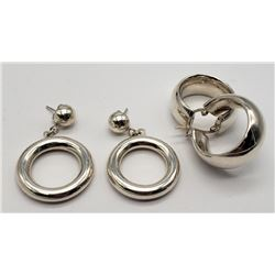 2-PAIRS OF STERLING EARRINGS (1)HOOP & (1)DANGLY