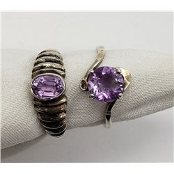 2-MODERN RINGS WITH LIGHT PURPLE CNTR STONES