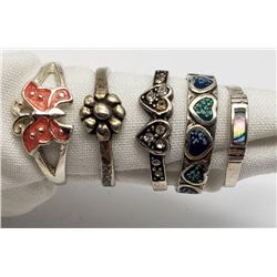 5-ANTIQUE STERLING RINGS WITH DIFF DESIGNS