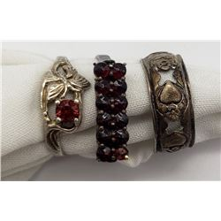 3-ANTIQUE STELRING RINGS: (1)HEART/FLOWER