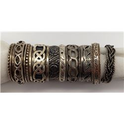 8-ANTIQUE STERLING RINGS WITH DIFFERENT