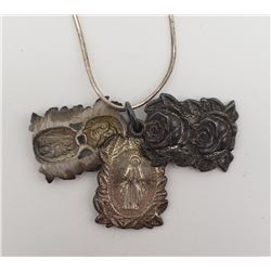 16 INCH NECKLACE WITH (3)RELIGIOUS PENDANTS