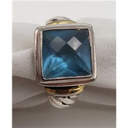 MODERN STERLING RING WITH LARGE LIGHT BLUE