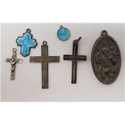 6-STERLING RELIGIOUS PENDANTS ALL MARKED!!
