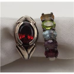 2-STERLING RINGS WITH MULTI COLORED STONE