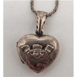 20 INCH STERLING NECKLACE WITH HEART LOCKET/