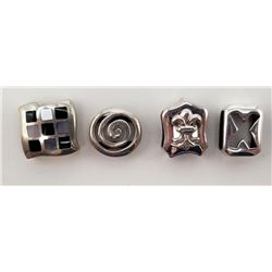 4-STERLING SQUARE CHARMS ALL MARKED!