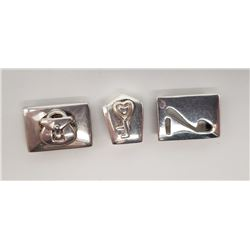 3-STERLING SQUARE CHARMS ALL MARKED!