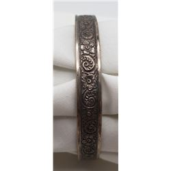 ANTIQUE STERLILNG BANGLE WITH FLOWER/SCROLL