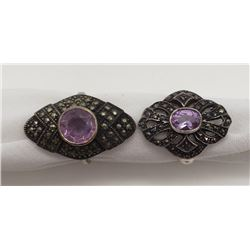 2-ANTIQUE STERLILNG MARCASITE RINGS WITH LIGHT