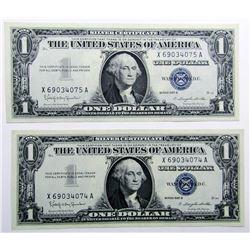 2-CU $1 SILVER CERTS CONSECUTIVE #
