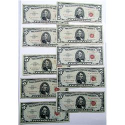 10-$5 RED SEAL U.S. NOTES