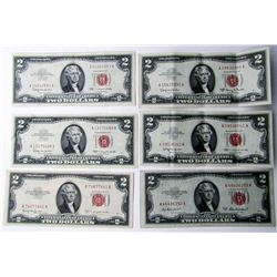 6-$2 RED SEAL U.S. NOTES