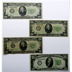 1934 CURRENCY LOT: 3-$20, 1-$10