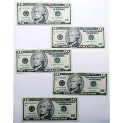 5-CONSECUTIVE STAR $10 NOTES