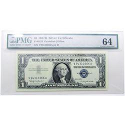 $1 1957B SILVER CERT PMG 64