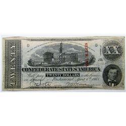 1863$20 CONFEDERATE STATES of AMERICA