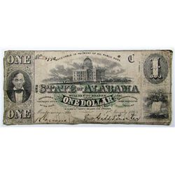 1863 $1 OBSOLETE NOTE STATE of ALABAMA