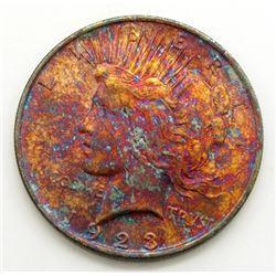 """1923 """"RAINBOW"""" PEACE DOLLAR UNC"""