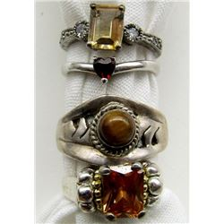 4-STERLING RINGS WITH TIGER EYE & BURNT ORANGE