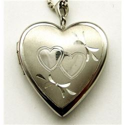 STERLING HEART LOCKET NECKLACE