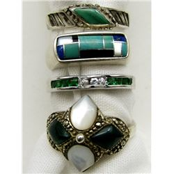 4-STERLING RINGS WITH GREEN STONE ACCENTS