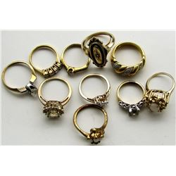 10-STERLING GOLD LAYERS RINGS WITH CLEAR