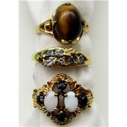 3-GORGEOUS GOLD FILLED RINGS: TIGER EYE,