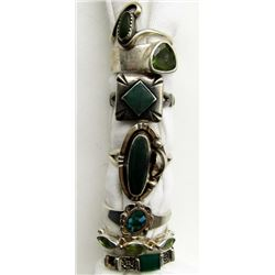 7-ANTIQUE STERLING RINGS WITH GREEN &
