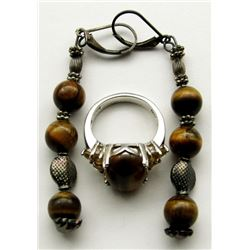 STERLING TIGER EYE RING AND EARRING SET