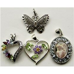 4-STERLING PENDANTS WITH GORGEOUS DETAILS!