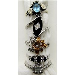 5-GORGEOUS BLING RINGS WITH DIFFERENT COLORED