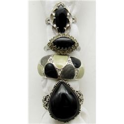 4-ANTIQUE STERLING BLING RINGS WITH BLACK