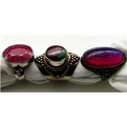 3-ANTIQUE STERLING RINGS WITH MAGENTA